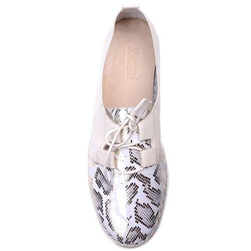 Туфли Prego из кожи бежевого цвета с блестящим принтованным носочком, фото