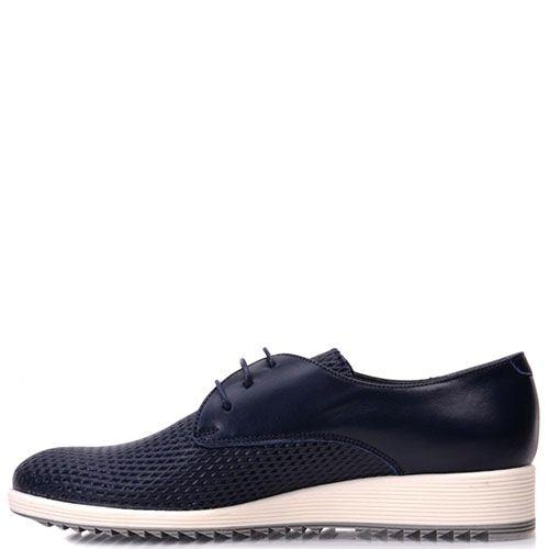 Кожаные туфли Prego синего цвета с рельефным тиснением, фото