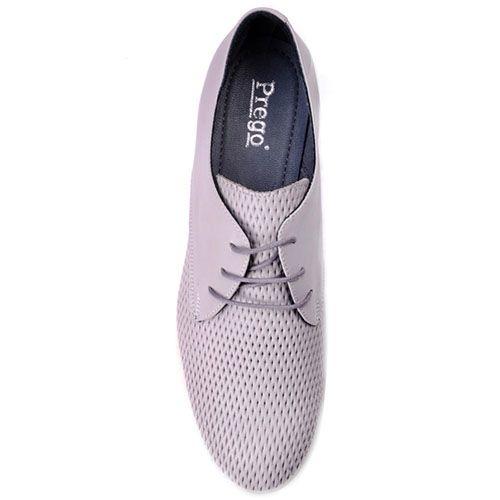 Туфли Prego из натуральной серой кожи с круглым носочком, фото