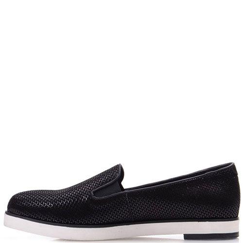 Туфли Prego из нубука черного цвета с чешуйчатым принтом, фото