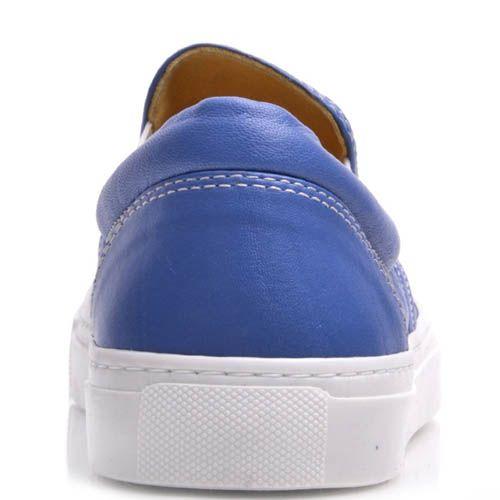 Слипоны Prego женские кожаные синего цвета, фото