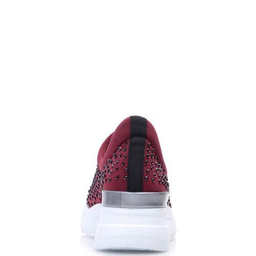 Кроссовки Prego бордового цвета  украшенные стразами, фото