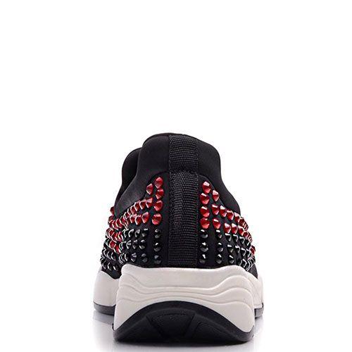 Кроссовки Prego черного цвета с крупными черными и красными стразами, фото