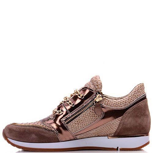 Кроссовки Prego из натуральной кожи бронзового цвета с замшевыми вставками, фото