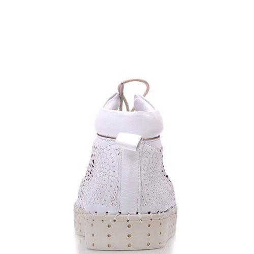 Ботинки Prego из натуральной белой кожи с перфорацией, фото