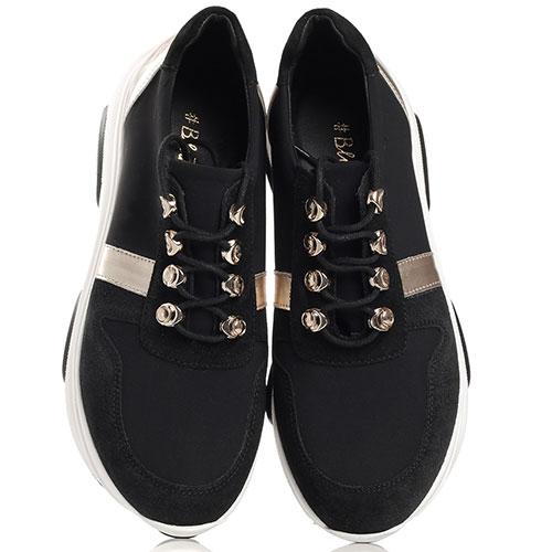 Черные кроссовки Tosca Blu Fusion с золотистыми вставками, фото