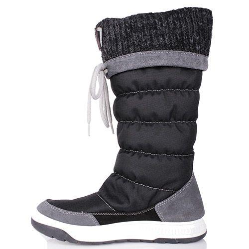 Сапоги-дутики Bressan черного цвета с вязаной вставкой на голенище, фото