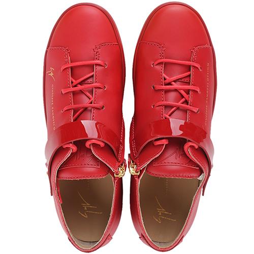 Красные кеды Giuseppe Zanotti с лаковым ремешком, фото