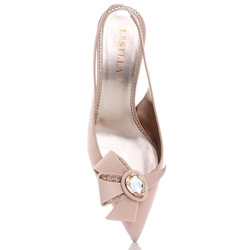 Бежевые туфли-лодочки Le Silla с бантом на носке, фото