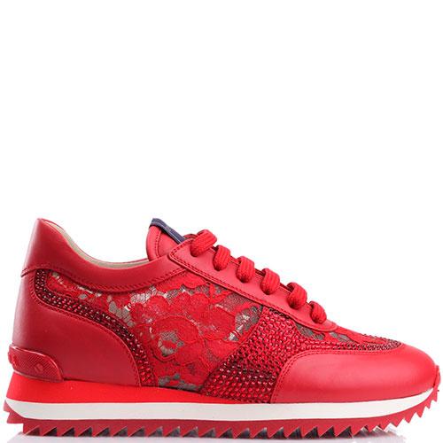 Красные кроссовки Le Silla с кружевными элементами, фото