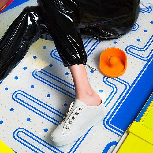 Кеды без задника Le Silla из белой кожи, фото