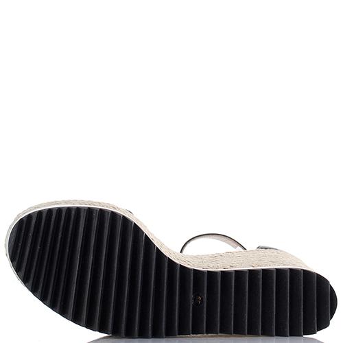 Черные босоножки Le Silla со стразами на плетеной подошве, фото