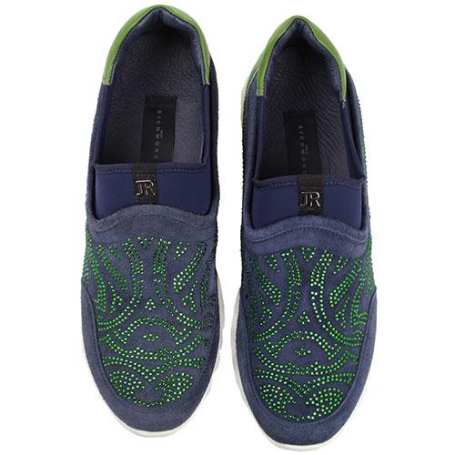 Синие кроссовки без шнуровки John Richmond декорированные стразами, фото