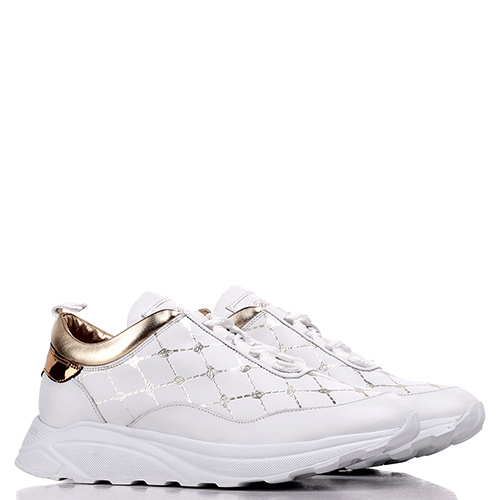 Кроссовки Blumarine белые с золотистыми вставками, фото