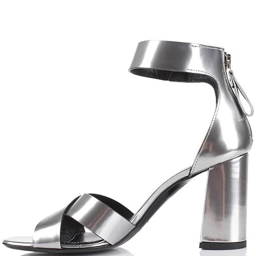 Серебристые босоножки Premiata на толстом каблуке, фото