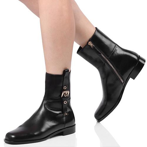 Ботинки Emporio Armani черного цвета с декором-ремешком, фото
