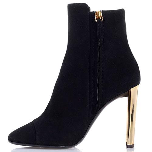Черные замшевые ботинки Giuseppe Zanotti на высоком каблуке золотистого цвета, фото