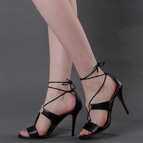 Черные босоножки Emporio Armani на шнуровке, фото