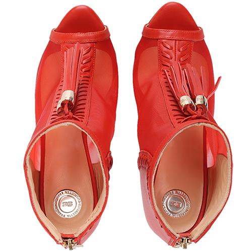 Босоножки Elisabetta Franchi красного цвета с кисточками, фото