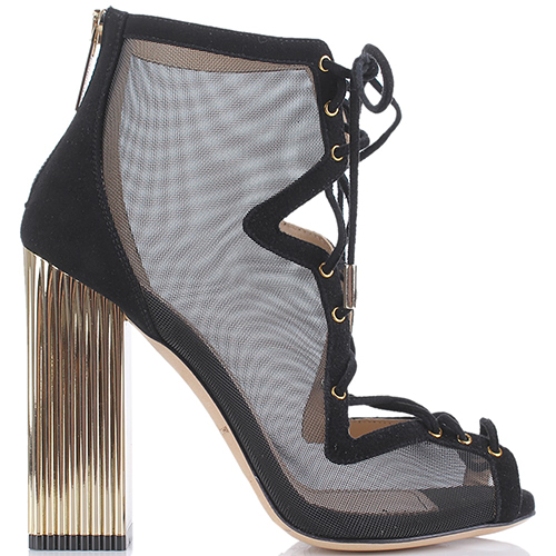 Босоножки со шнуровкой Elisabetta Franchi на золотистом каблуке, фото