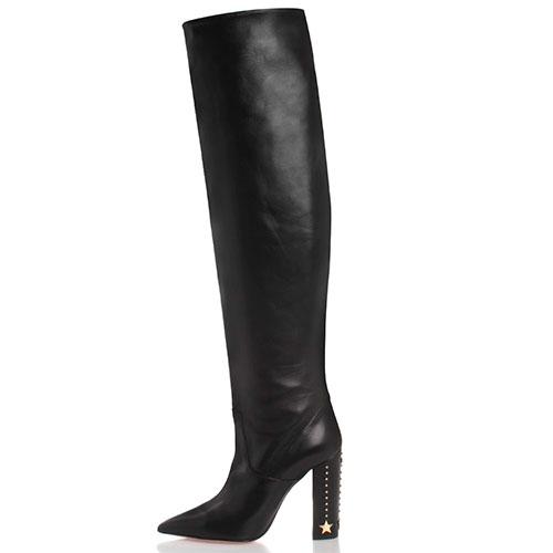 Кожаные черные сапоги Elisabetta Franchi на толстом каблуке декорированном заклепками и звездами, фото