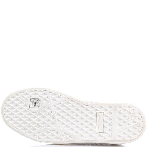 Слипоны из белой перфорированной кожи Giuseppe Zanotti с металлическим носочком, фото