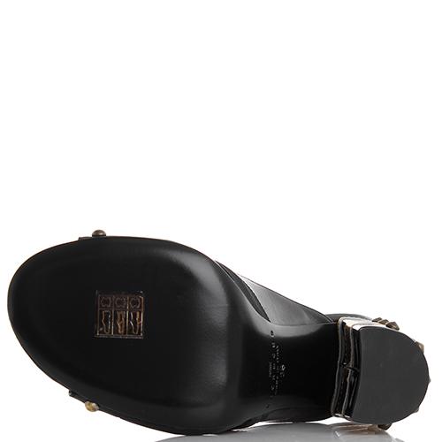 Мюли John Richmond черного цвета с золотым декором на каблуке, фото