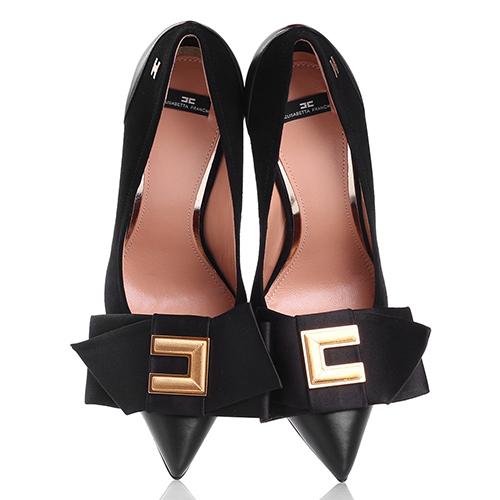 Черные туфли-лодочки Elisabetta Franchi с декором-бантом, фото