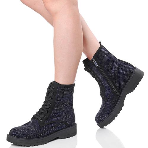Черные ботинки Tosca Blu со стразами синего цвета, фото
