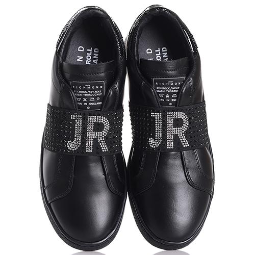 Черные слипоны John Richmond с декором-стразами, фото