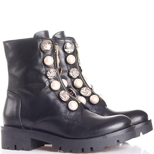 Ботинки Tosca Blu из гладкой черной кожи с декором из пуговиц и бусин, фото