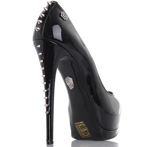 Лаковые туфли Philipp Plein с металлическими шипами на каблуке, фото