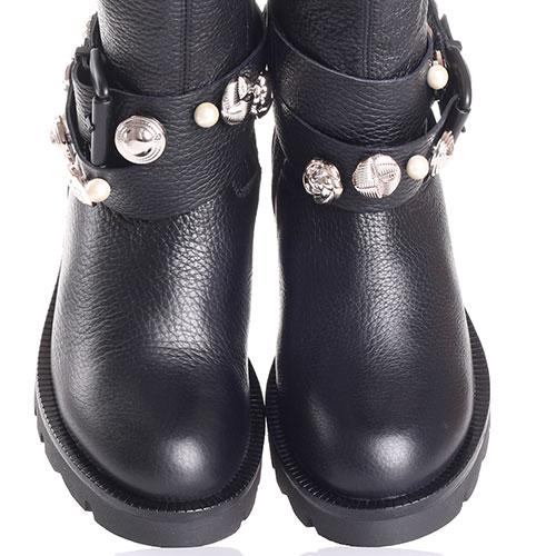 Черные сапоги Tosca Blu из зернистой кожи со съемным декором, фото