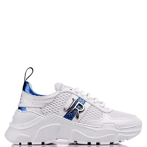 Белые кроссовки John Richmond с синими вставками, фото
