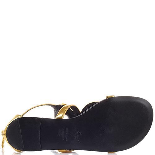 Золотистые сандалии Giuseppe Zanotti с декором в виде колец, фото