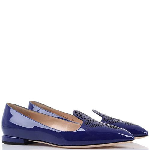 Синие лаковые туфли Emporio Armani с декоративной перфорацией, фото