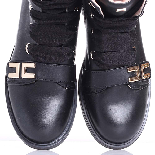 Ботинки Elisabetta Franchi черного цвета с широкими шнурками, фото