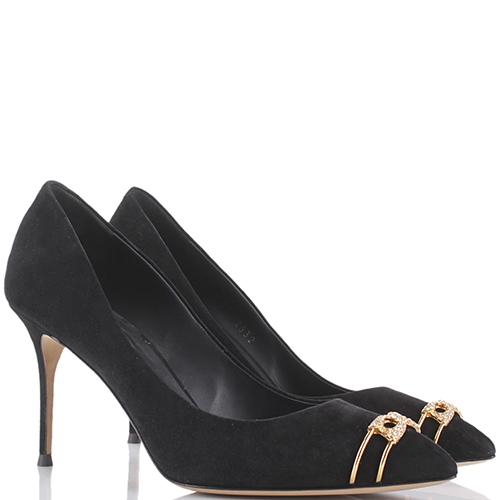 Черные замшевые туфли Giuseppe Zanotti с золотистым декором в виде булавки, фото