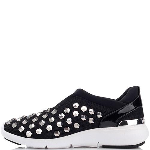 Текстильные кроссовки Michael Kors без шнуровки с металлическим декором, фото