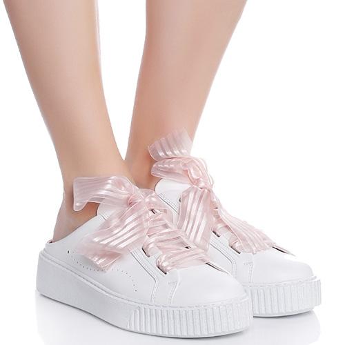 Белые мюли Tosca Blu с бантом-шнурками, фото