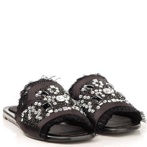 Черные шлепанцы Tosca Blu Bibi с декором-стразами, фото