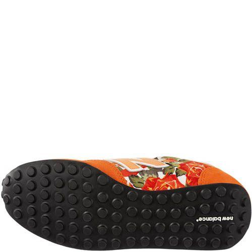 Кроссовки New Balance женские оранжевого цвета с цветочным принтом, фото