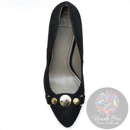 Лодочки Versace Collection роскошные замшевые черные, фото