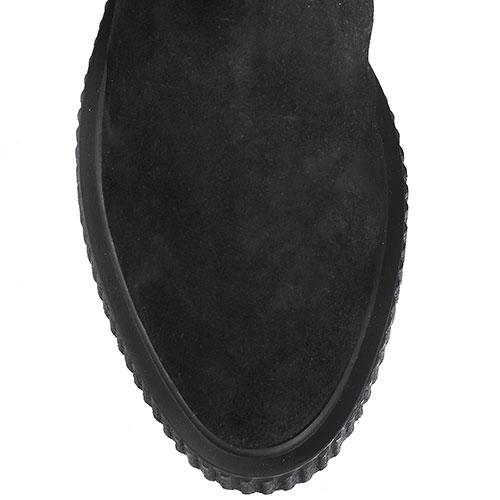 Замшевые сапоги черного цвета Iceberg с брендовой надписью, фото