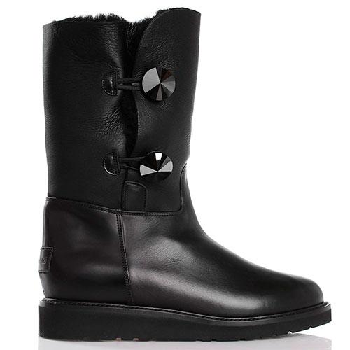 Высокие зимние ботинки на плоском ходу Nando Muzi черного цвета, фото