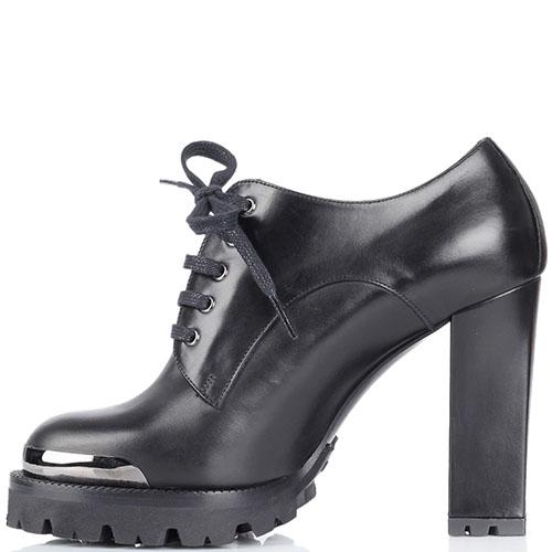 Кожаные ботинки черного цвета Nando Muzi на рельефной подошве и высоком устойчивом каблуке, фото