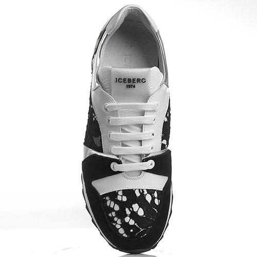 Кроссовки белые с черным Iceberg декорированные кружевом, фото