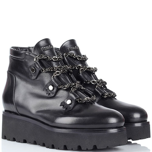 Зимние кожаные ботинки Nando Muzi на платформе и шнуровке из цепей, фото