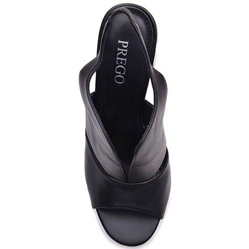 Босоножки Prego из натуральной кожи черного цвета с открытым носочком, фото