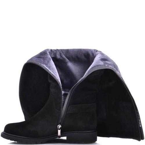 Сапоги Prego зимние из замши черного цвета с мехом внутри на плоском ходу и декором в виде ремешков, фото